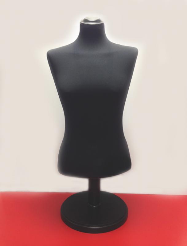 BU958000P06 Bysta dámská - krátká černá, krk plochý a noha kulatá černá