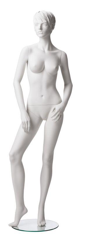 Dámská figurína Adela bílá, postoj 4, prolisované vlasy