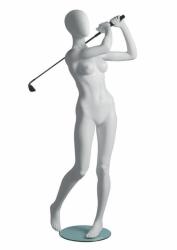 Metro Female Golfer sportovní figurína, abstraktní hlava, bílá