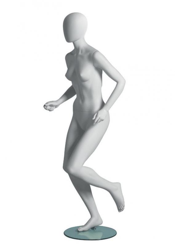 Metro Female Runner sportovní figurína, abstraktní hlava, bílá