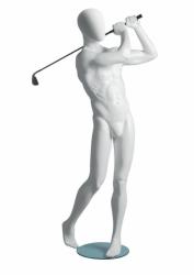Metro Male Golfer sportovní figurína, abstraktní hlava, bílá