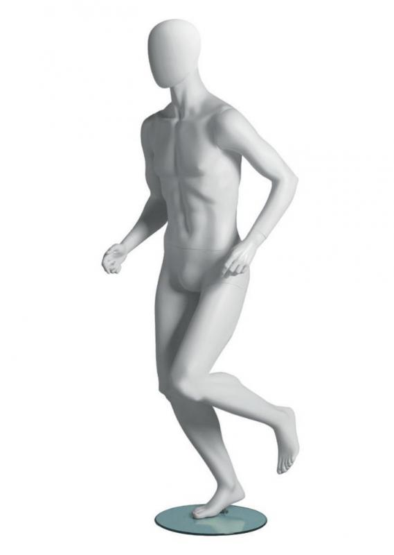 Metro Male Runner sportovní figurína, abstraktní hlava, bílá
