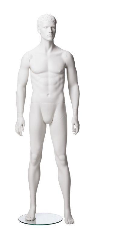 Pánská figurína Matt bílá, postoj 1, prolisované vlasy