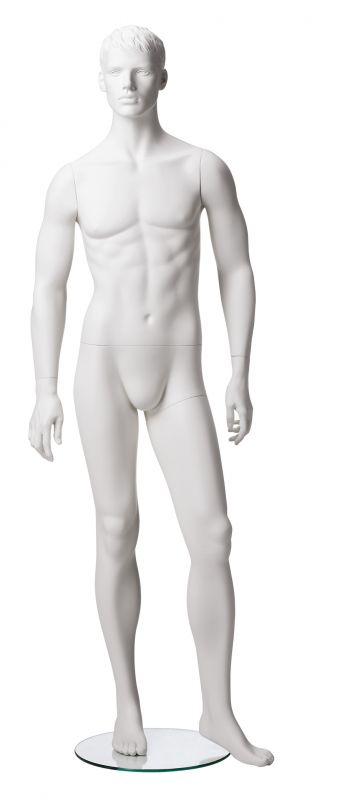 Pánská figurína Matt bílá, postoj 2, prolisované vlasy