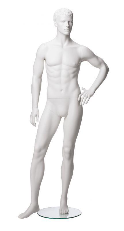 Pánská figurína Matt bílá, postoj 5, prolisované vlasy