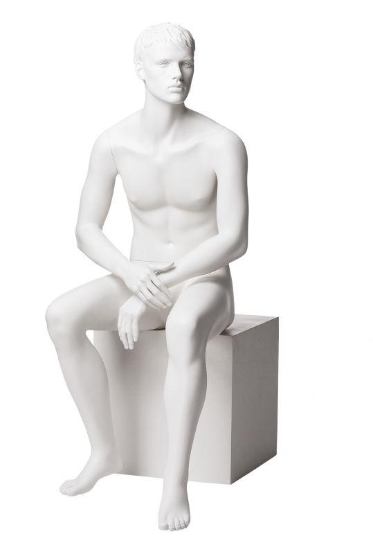 Pánská figurína Matt bílá, postoj 6, prolisované vlasy