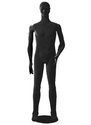 Poly Star Man, pohybovatelná pánská figurína, černá s vlasy, provedení flock