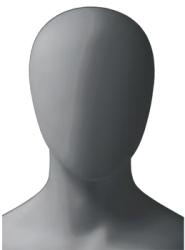 Metro Male, postoj 4, pánská figurína, abstraktní hlava, šedá, nano – povrchová úprava