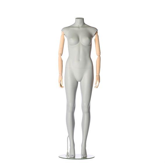 Dámská figurína s pohybovatelnýma rukama, bez hlavy, šedá, pozice 790