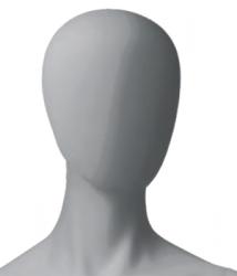 Metro Female, postoj 1, dámská figurína, abstraktní hlava, šedá, nano – povrchová úprava