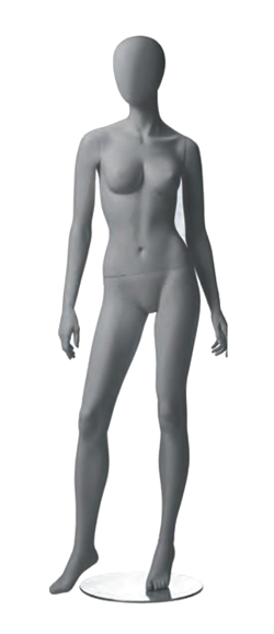 Metro Female, postoj 2, dámská figurína, abstraktní hlava, šedá, nano – povrchová úprava