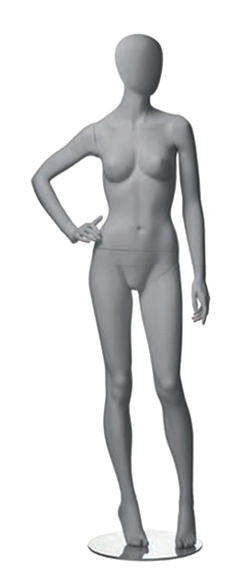 Metro Female, postoj 3, dámská figurína, abstraktní hlava, šedá, nano – povrchová úprava