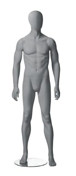 Metro Male, postoj 1, pánská figurína, abstraktní hlava, šedá, nano – povrchová úprava