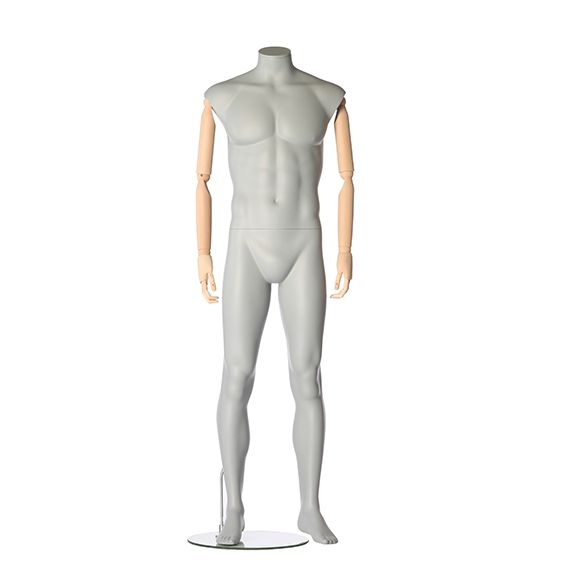 Pánská figurína s pohybovatelnýma rukama, bez hlavy, šedá, pozice 795