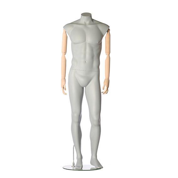 Pánská figurína s pohybovatelnýma rukama, bez hlavy, šedá, pozice 796