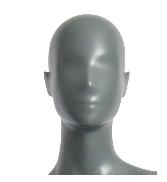 Semira, postoj 1, dámská figurína, abstraktní hlava, šedá, nano – povrchová úprava