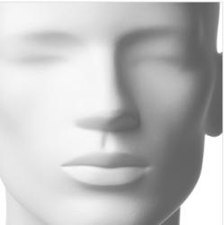 Retro pánská, postoj 3, hlava Omar, bílá matná