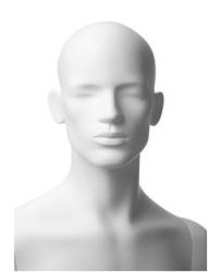 Retro pánská, postoj 5, hlava Omar, bílá matná