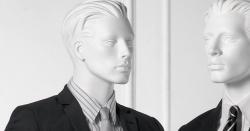 Pánská figurína Nik bílá, postoj 2, prolisované vlasy