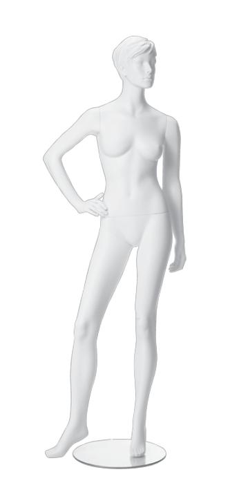 Dámská figurína Irene bílá, postoj 3, prolisované vlasy