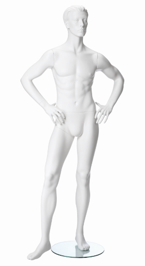 Pánská figurína Nik bílá, postoj 4, prolisované vlasy