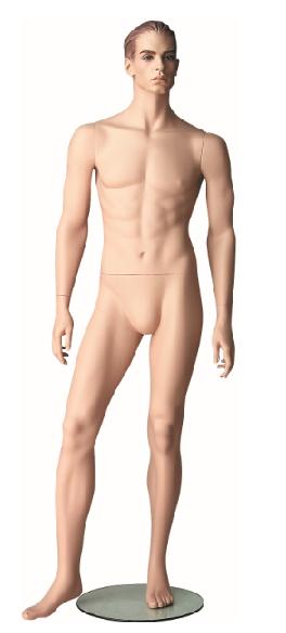 Pánská figurína Patrick tělová, postoj 2, prolisované vlasy, make-up