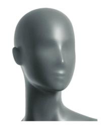 Semira, postoj 3, dámská figurína, abstraktní hlava, šedá, nano – povrchová úprava