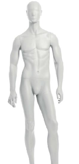 Semiro, postoj 2, pánská figurína, abstraktní hlava, bílá matná