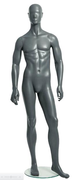 Semiro, postoj 2, pánská figurína, abstraktní hlava, šedá, nano – povrchová úprava