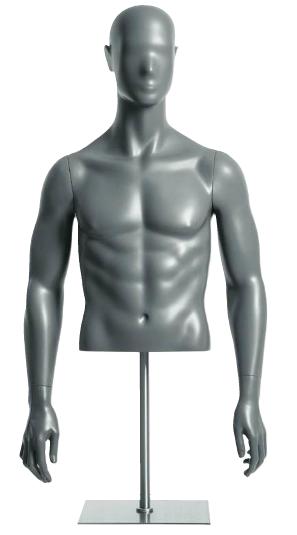 Semiro, torso pánské - krátké, abstraktní hlava, šedá, nano – povrchová úprava