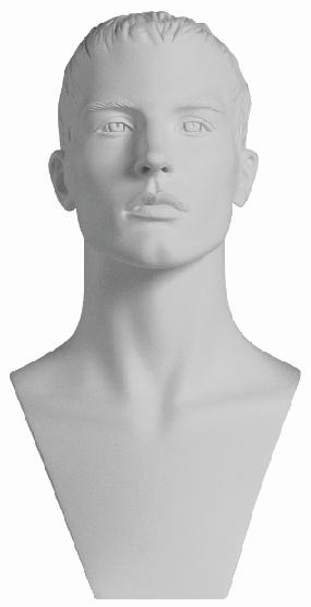 Sportovní hlava Adam, bílá s prolisovanými vlasy
