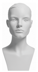 Sportovní hlava Liv, bílá s prolisovanými vlasy