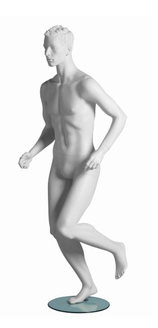 Kevin Runner sportovní figurína, prolisované vlasy, bílá