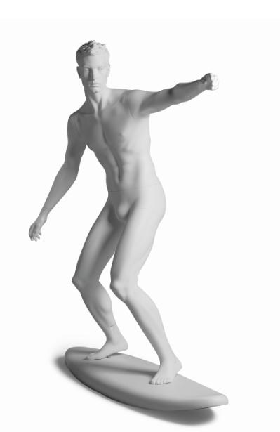 Kevin Surfer sportovní figurína, prolisované vlasy, bílá
