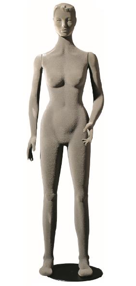 Poly Star Lady, pohybovatelná dámská figurína, šedá s vlasy, provedení flock
