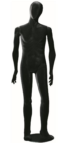 Poly Star Man, pohybovatelná pánská figurína, provedení flock, černá s abstraktní hlavou