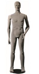 Poly Star Man, pohybovatelná pánská figurína, šedá s vlasy, provedení flock