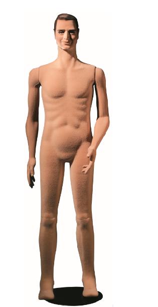 Poly Star Man, pohybovatelná pánská figurína, tělová s vlasy, provedení flock, s makeup
