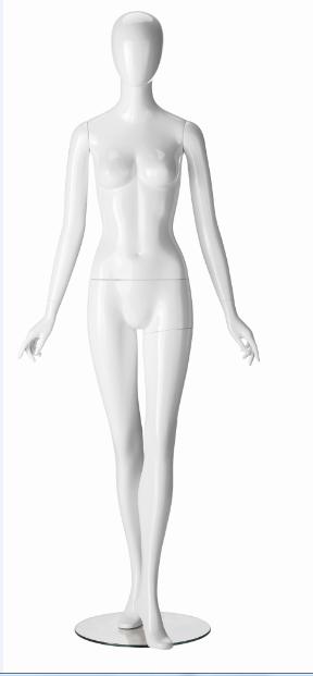 Ringo Female, postoj 3, dámská figurína, abstraktní hlava, bílá lesklá