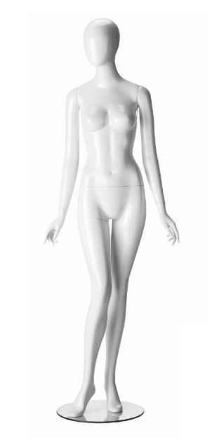 Ringo Female, postoj 5, dámská figurína, abstraktní hlava, bílá lesklá