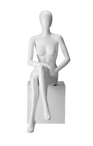 Ringo Female, postoj 6, dámská figurína, abstraktní hlava, bílá lesklá
