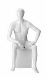 Ringo Male, postoj 6, pánská figurína, abstraktní hlava, bílá lesklá