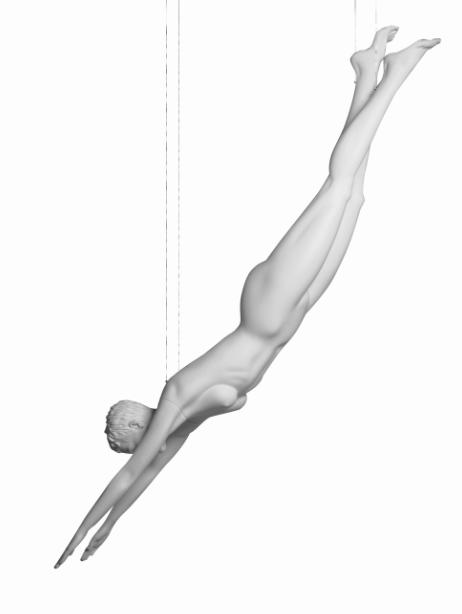 Vanessa Diver sportovní figurína, prolisované vlasy, bílá